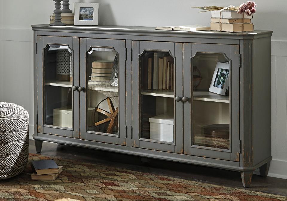 Mirimyn Antique Grey Door Accent Cabinet | Local Overstock ...