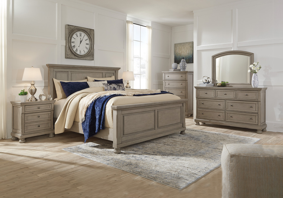 Lettner Light Gray Queen Panel Bedroom Set Local Overstock Warehouse Online Furniture And Mattress Retailer