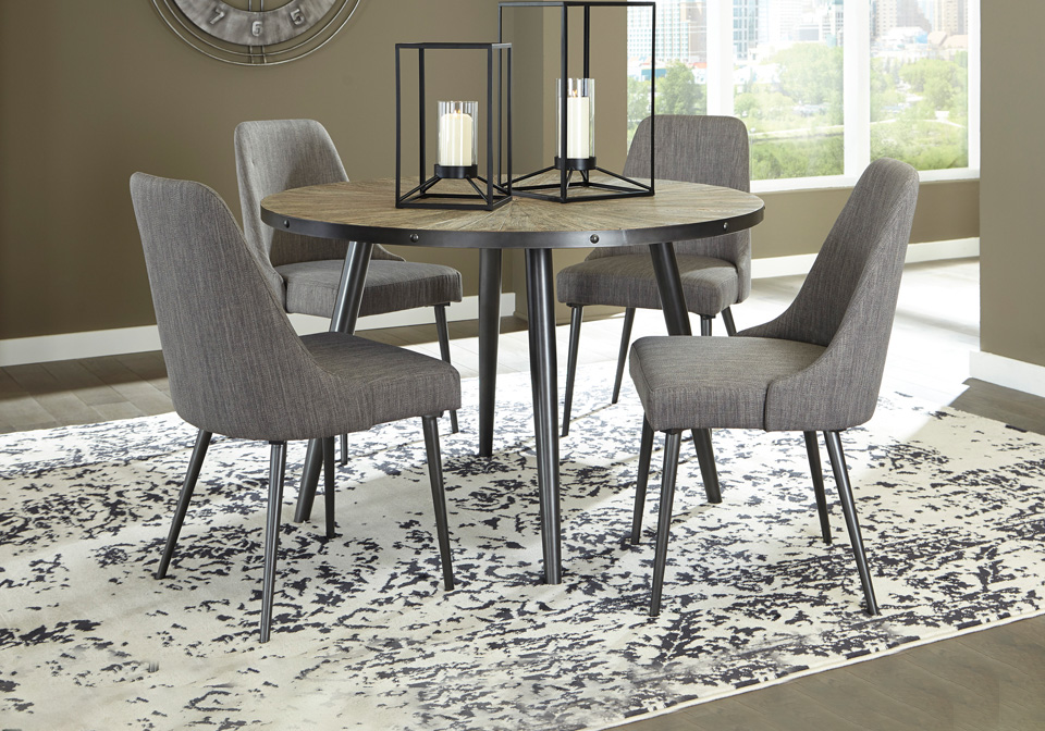 Coverty Gray Round Dining Room Table, Circle Dining Room Table