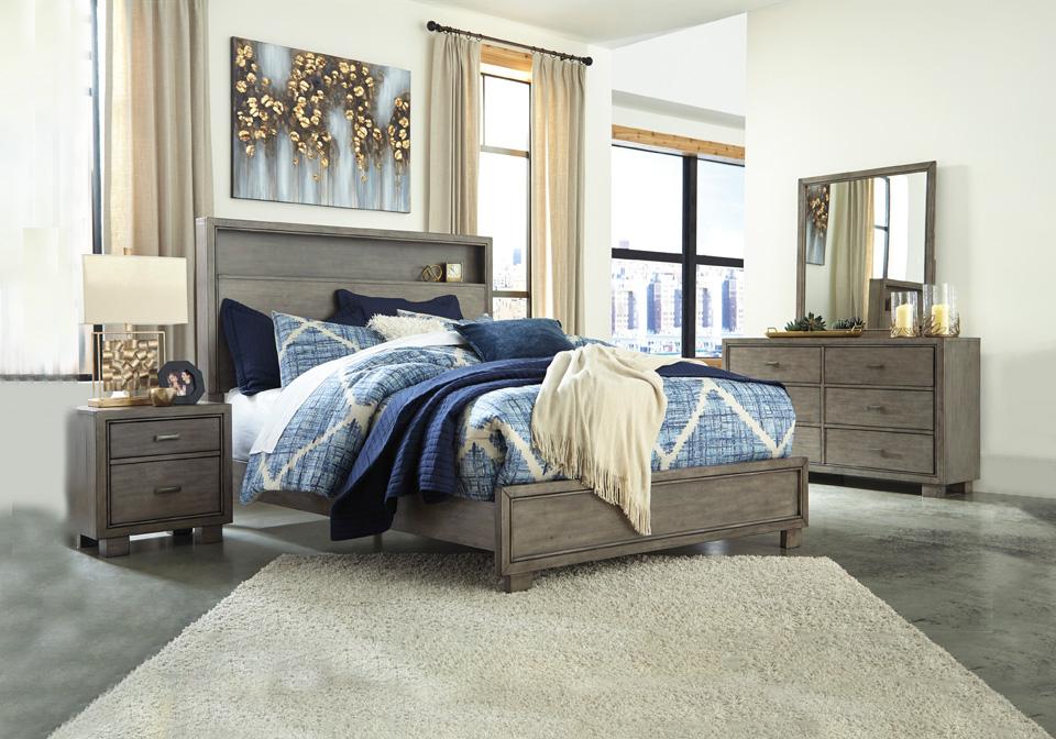 Arnett Gray Queen Bookcase Bedroom Set Local Overstock Warehouse