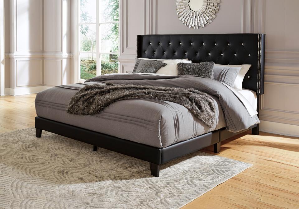 Vintasso Black Upholstered Queen Bed, Black Upholstered Platform Bed Queen